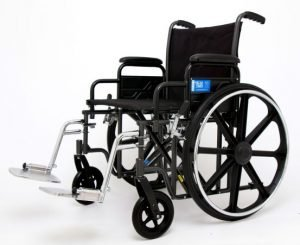 "Extra-Wide 22"" Seat Wheelchair by Drive Medical with Leg Rests Rented by Special Needs Group"