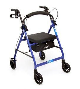 Rollator/Walker by Drive Medical with 4-Wheels, Seat, Hand Brakes, and Basket Under Seat Rented by Special Needs Group