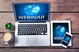 Laptop, Tablet, and Cell Phone Promoting Webinar